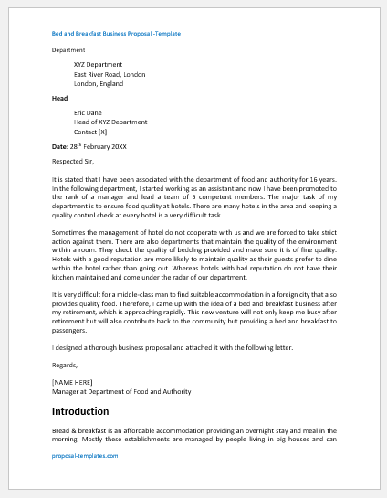 Bed and Breakfast Business Proposal Template
