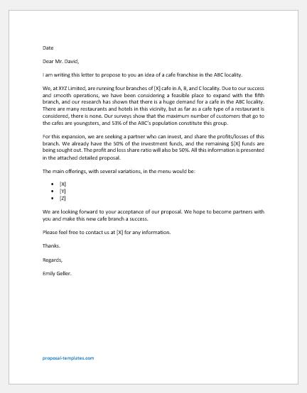 Cafe proposal letter
