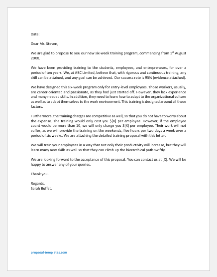 Cover Letter for Training Proposal