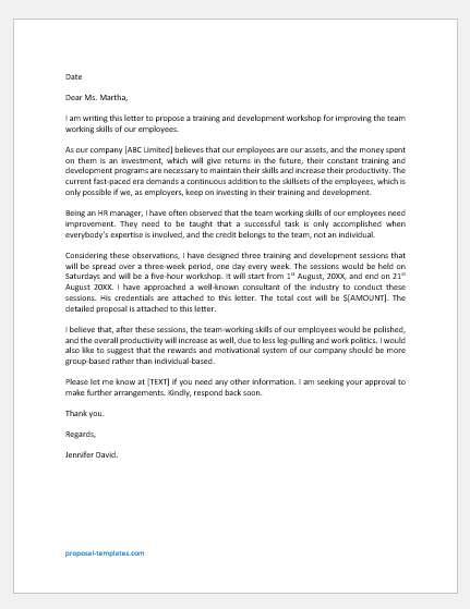 Proposal Letter for Training and Development
