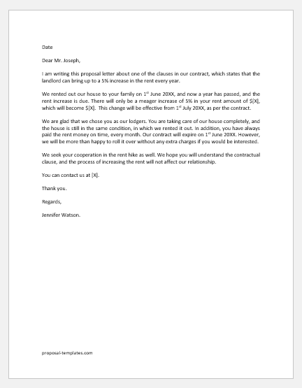 Rent Increase Proposal Letter