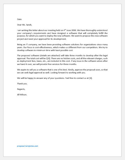 Software Project Proposal Letter