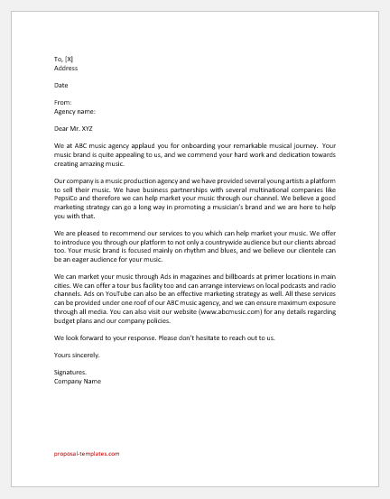 Music Release Marketing Proposal Letter