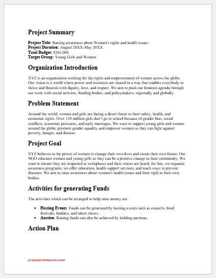 NGO funding request proposal template