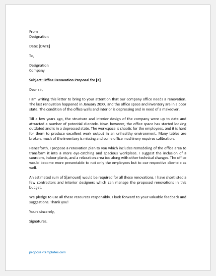 Office Renovation Proposal Letter Template
