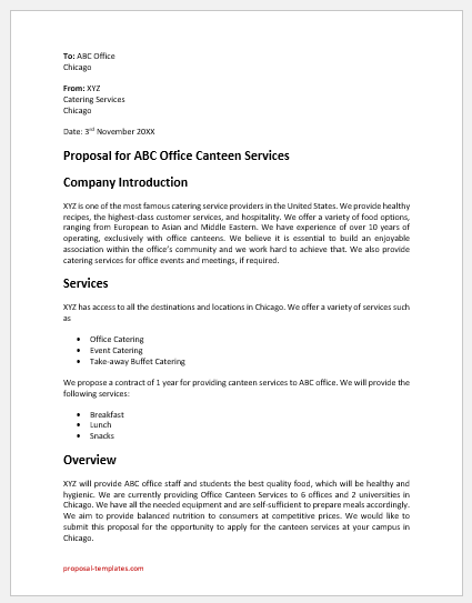 Office canteen business proposal