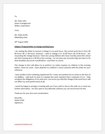 Proposal Letter to Change Working Hours