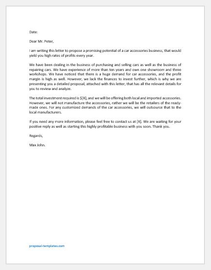 Car Accessories Business Proposal Letter
