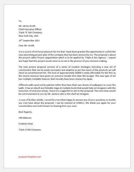 Cover Letter for Project Proposal