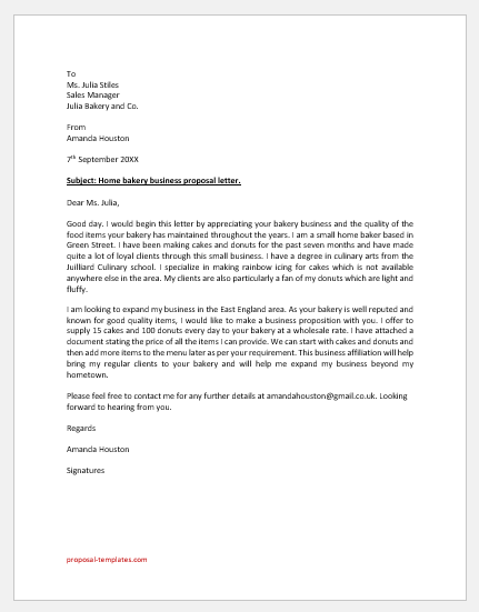 Home Bakery Business Proposal Letter