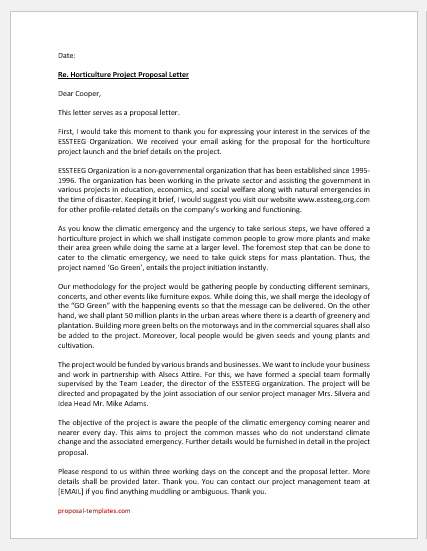 Horticulture project proposal letter