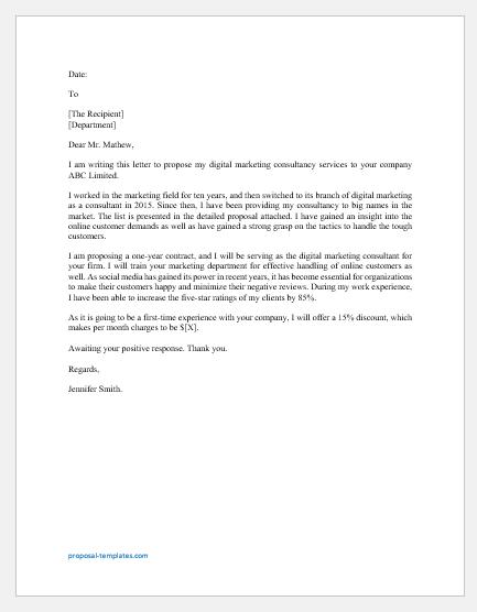 Digital marketing consultant proposal letter