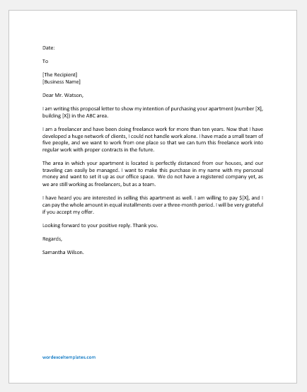 Proposal Letter for Purchasing an Apartment for Office